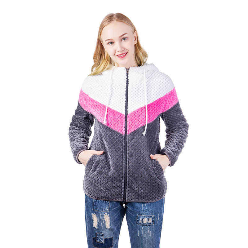 Hot Selling Cozy Colorblock Pineapple Fleece Jacket With Hoodie MXDSS534
