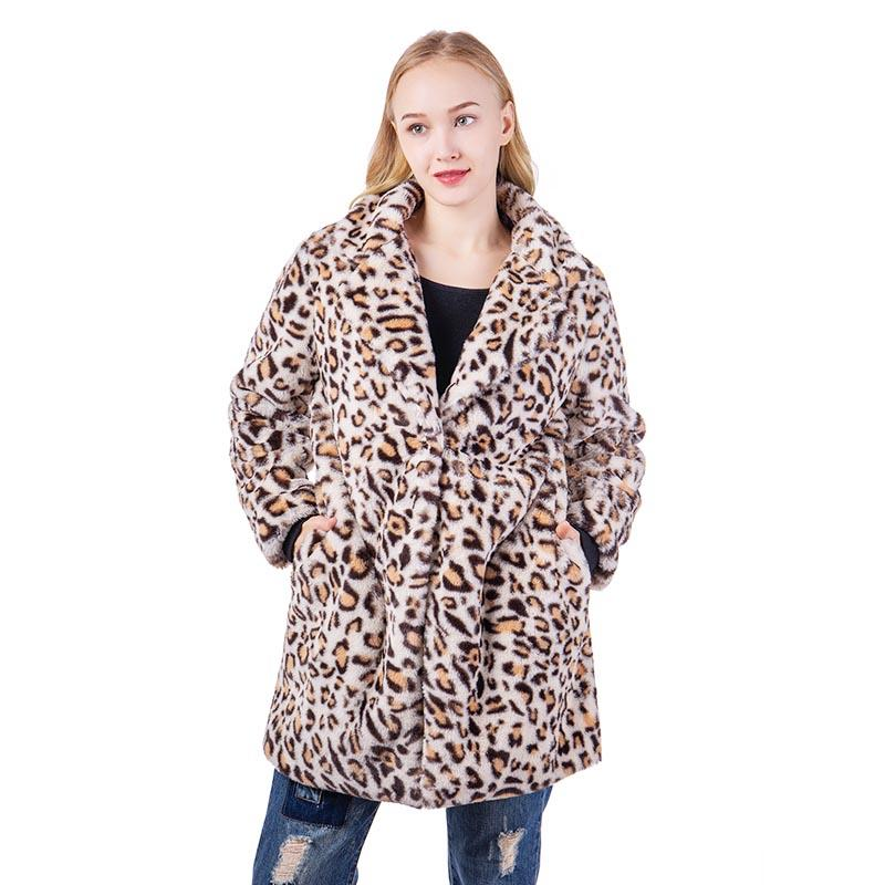 Faux Fur Leopard Open Overcoat Puffer Jacket MXDSS583