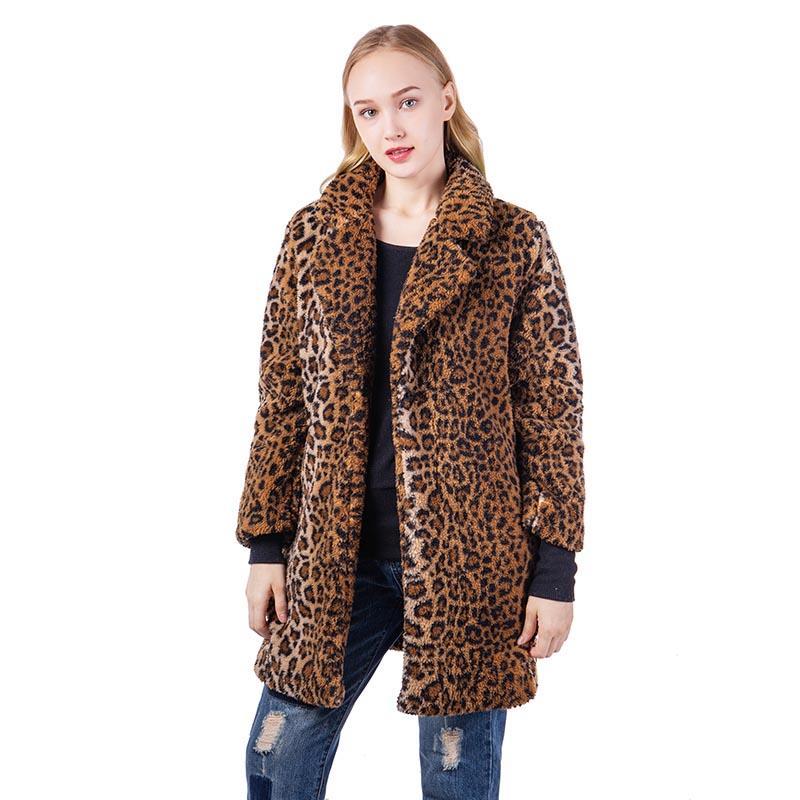 Women's Vintage Leopard Print Sherpa Coat-MXDSS590