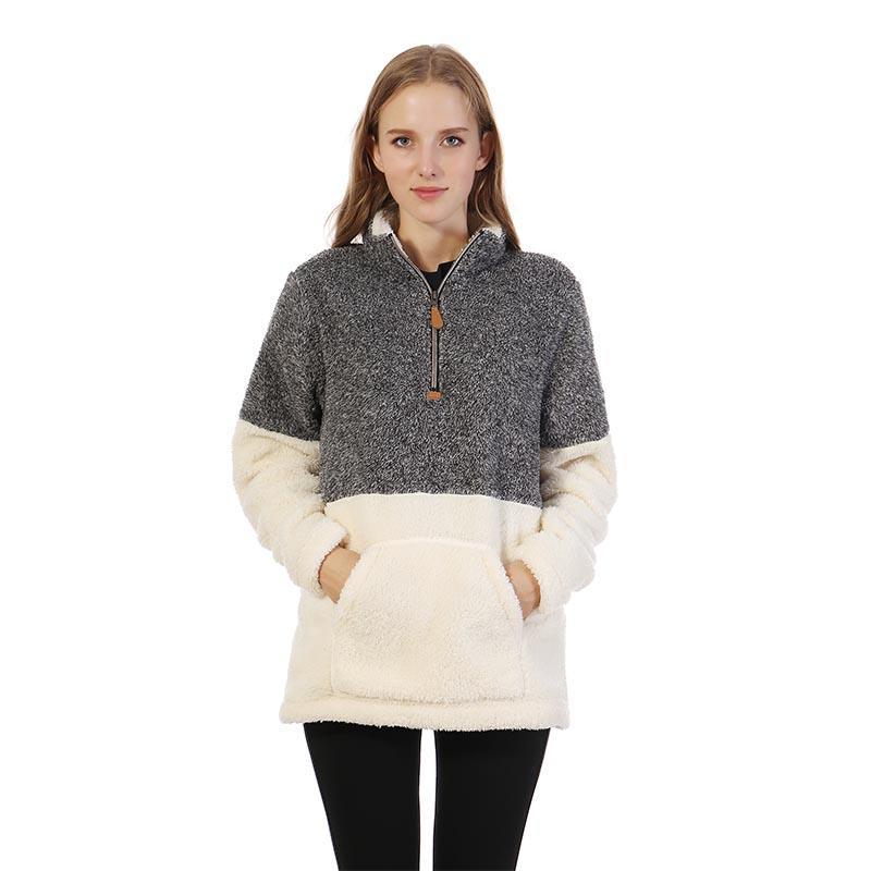 Women Trendy Two Tone Patchwork Fleece Pullover Zip Sherpa Sweater-MXDSS287