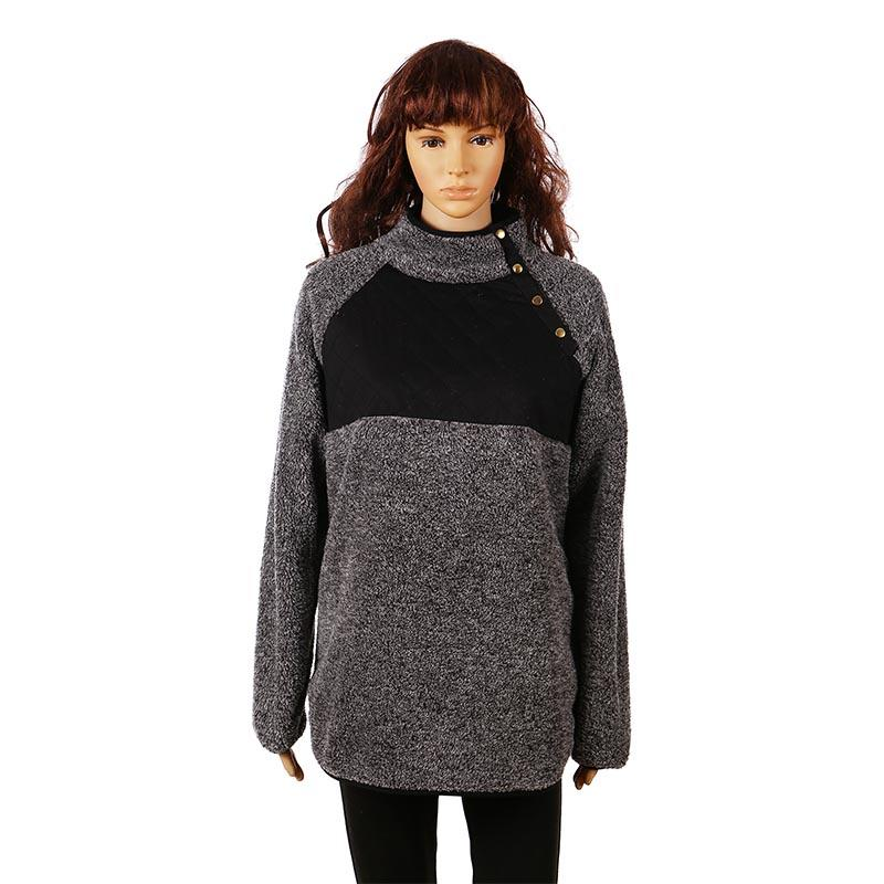 Double Face Quilted Button Collar Sherpa Fleece Pullover-MXDSS290