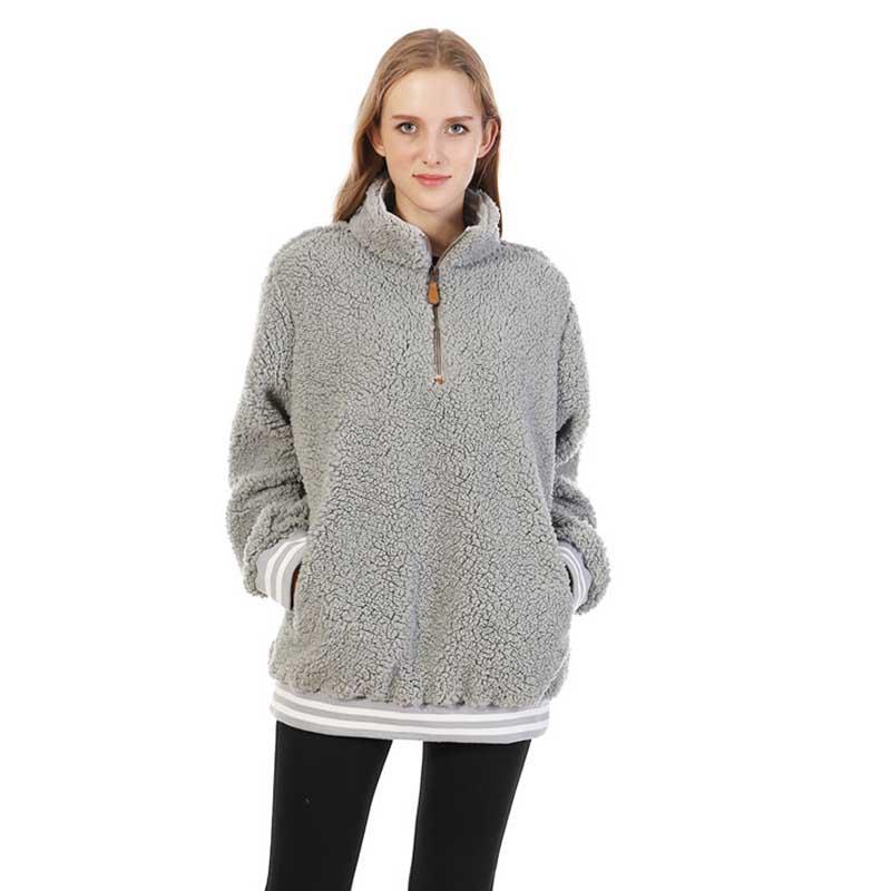 MXDSS303 Sherpa Fleece Stripe Rib Pullover