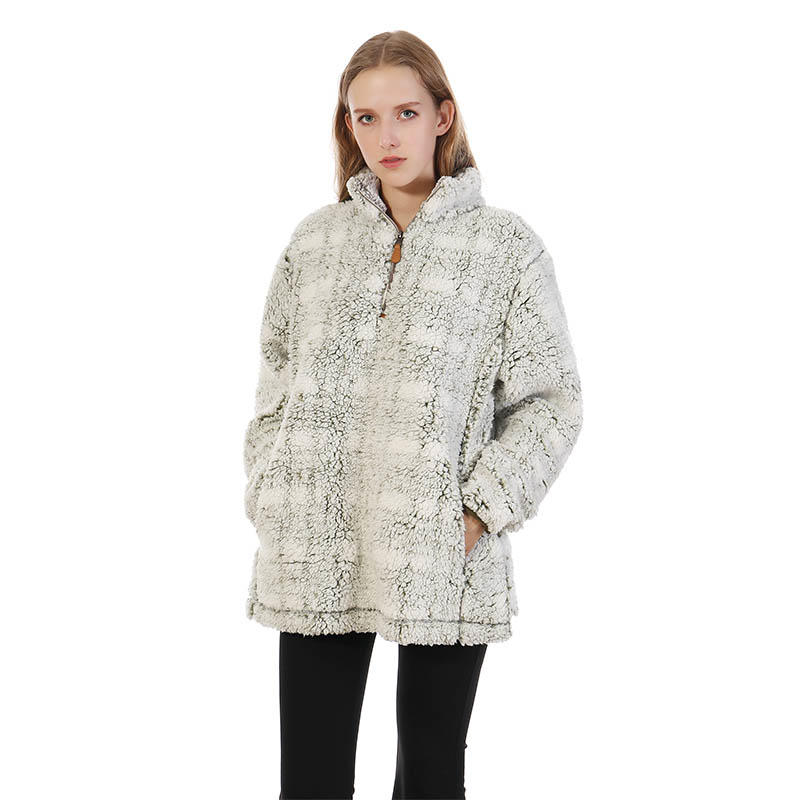 MXDSS324 FROSTY TIPPED BIG PLAID PILE PULLOVER