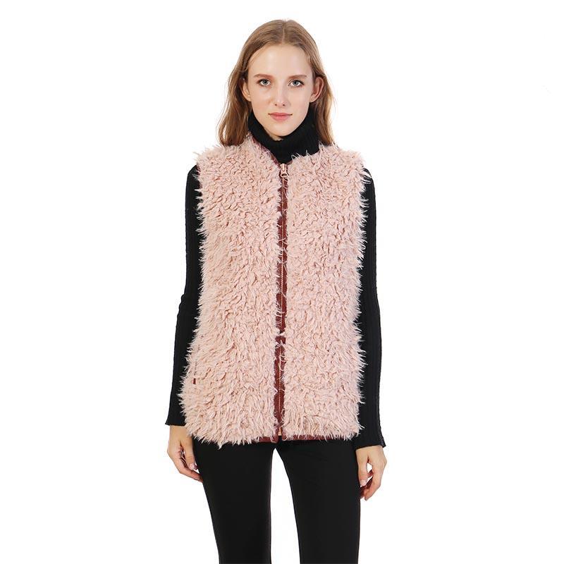 Lion Plush Faux Fur Sherpa Fleece Vest With Zipper Pockets MXDSS333