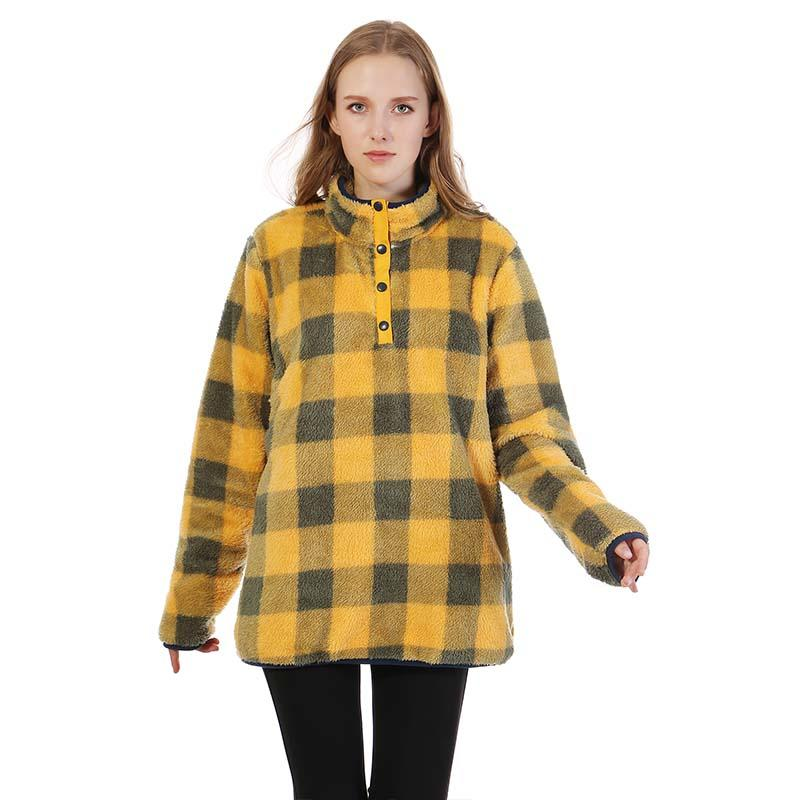 MXDSS360 Flannel Double Face Sherpa Fleece Plaid Pullover