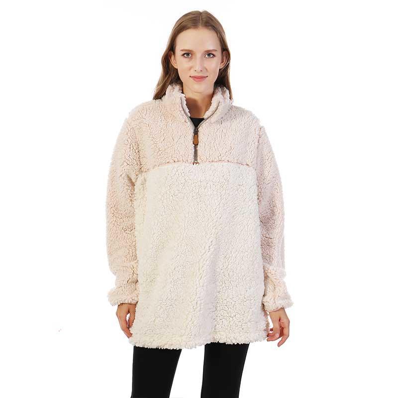 MXDSS363 Colorblock Frosty Cozy Sherpa Fleece Pullover