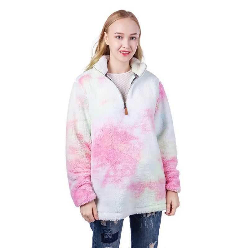 MXDSS622 Tie Dye Rainbow Sherpa Fleece Pullover
