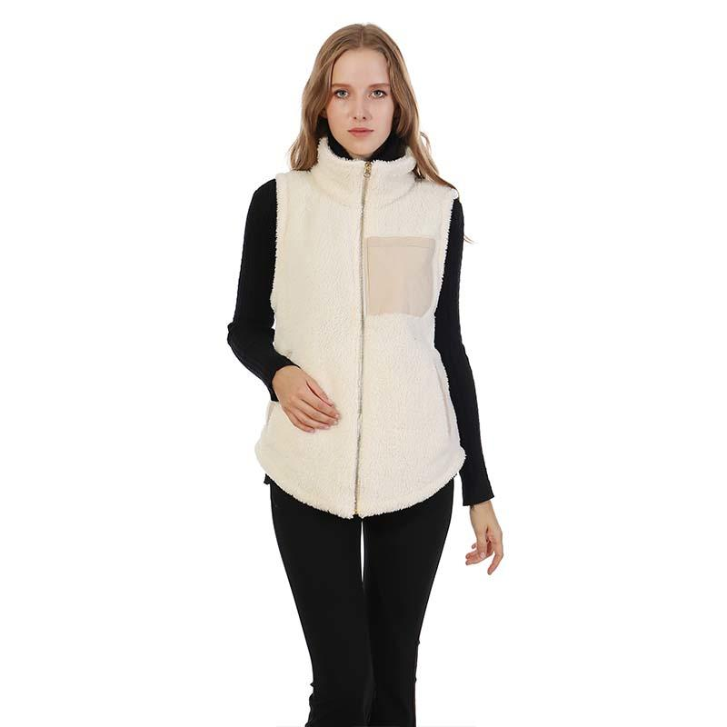 Double Face Monogram Sherpa Fleece Vest With Zipper MXDSS356