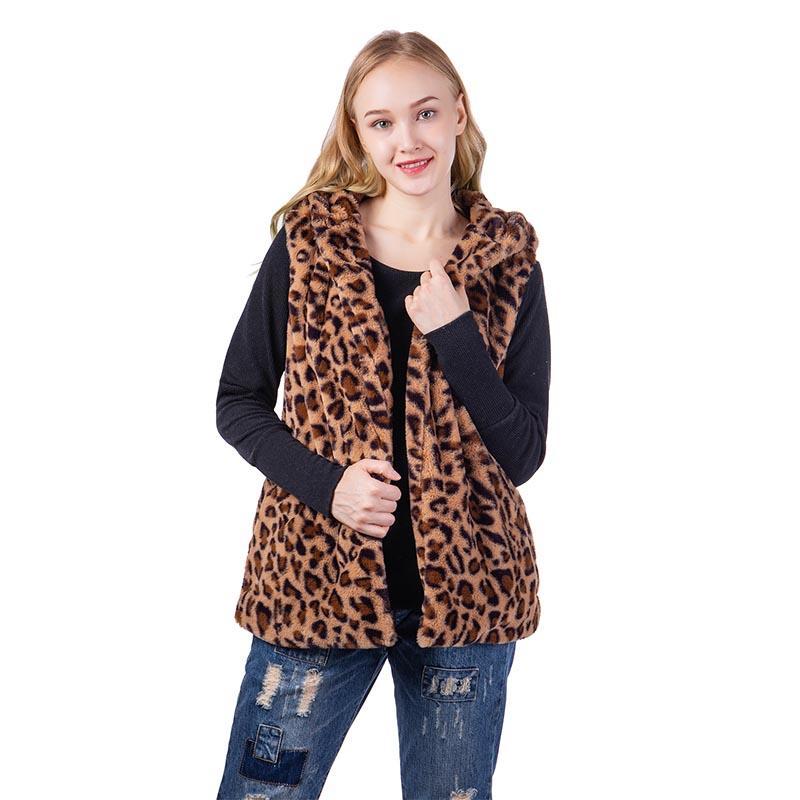 Faux Rabbit Fur Leopard Vest Hoodie MXDSS578