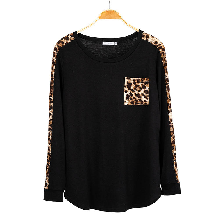 Women Tops Fall Long Sleeves Raglan Casual Leopard Print Shirts MXDSS720