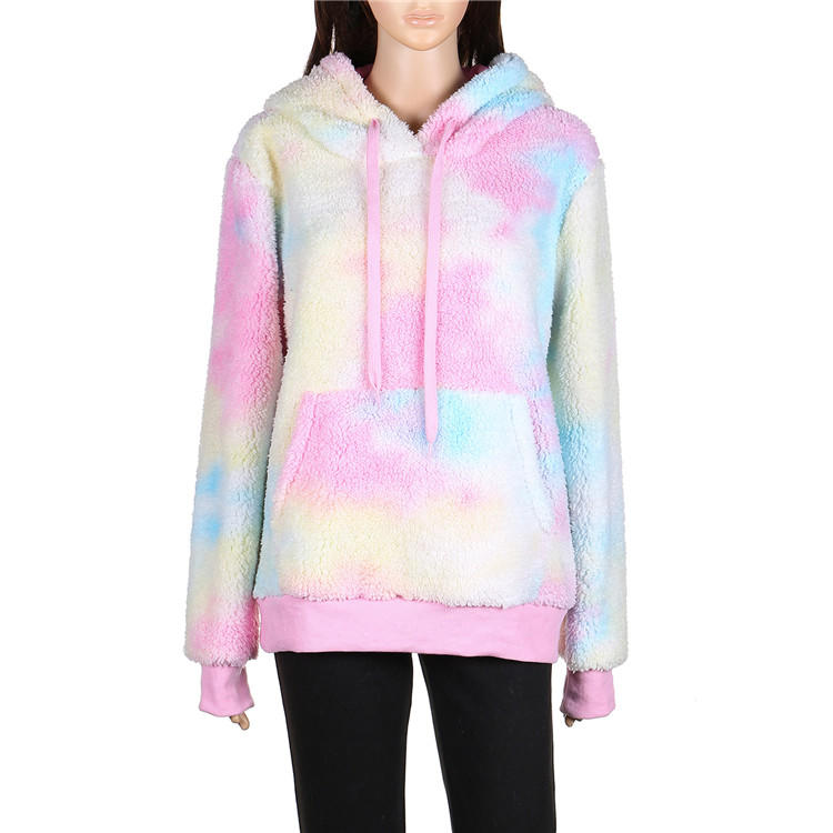 Yiwu Wholesale Fashion Tie Dye Sherpa Fleece Hoodie MXDSS666