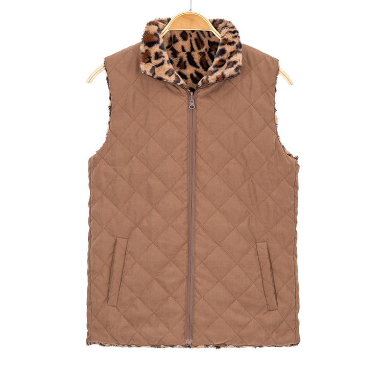 2019 Fashion Reversible Leopard Faux Quilted Women Vest MXDSS727