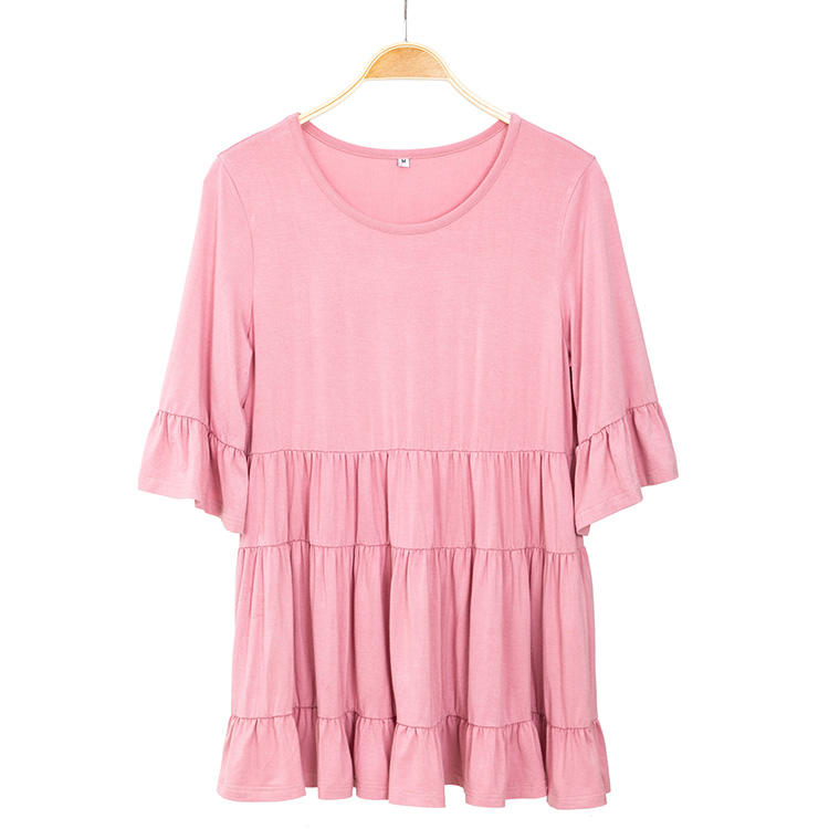 2020 New Arrival Women Round Neck Ruffle Tops MXDSS732