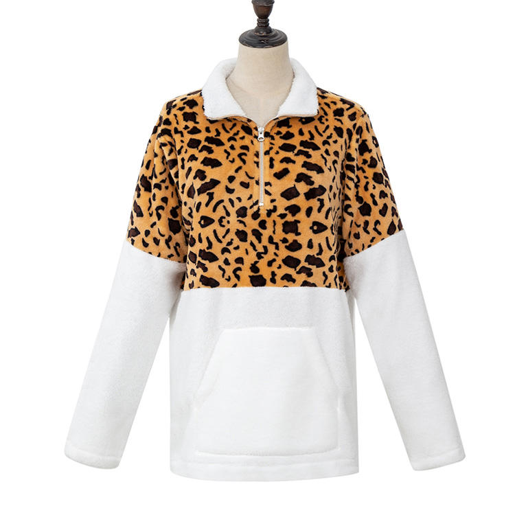 YiWu Wholesale Women Casual Leopard Color Block Sherpa Fleece Pullover MXDSS729