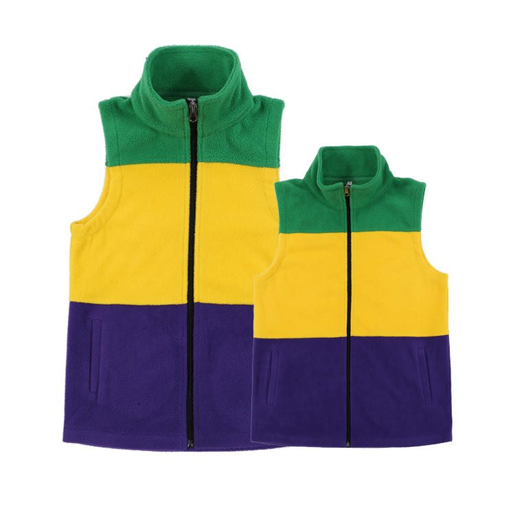 Yiwu Wholesale Monogrammed Adult And Kids Mardi Gras Sherpa Fleece VestMXDSS404