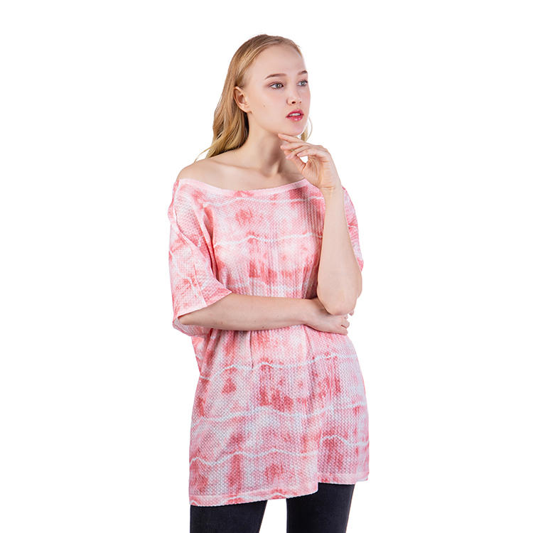 Fashion Round Neck Waffle Tie Dye Women T-Shirts MXDSS614