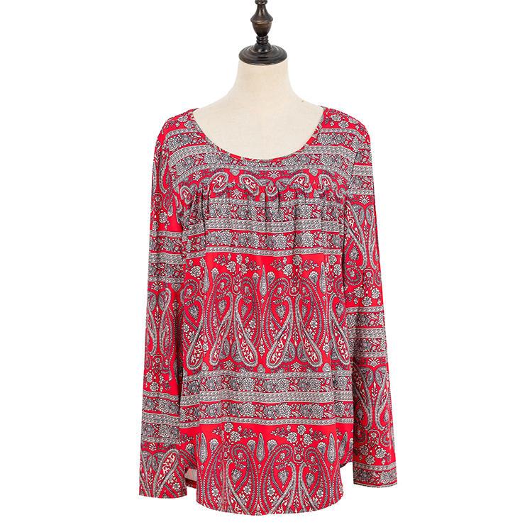 YIWU Wholesale Aztec Round Neck Women Long Sleeves Fashion Tops MXDSS705