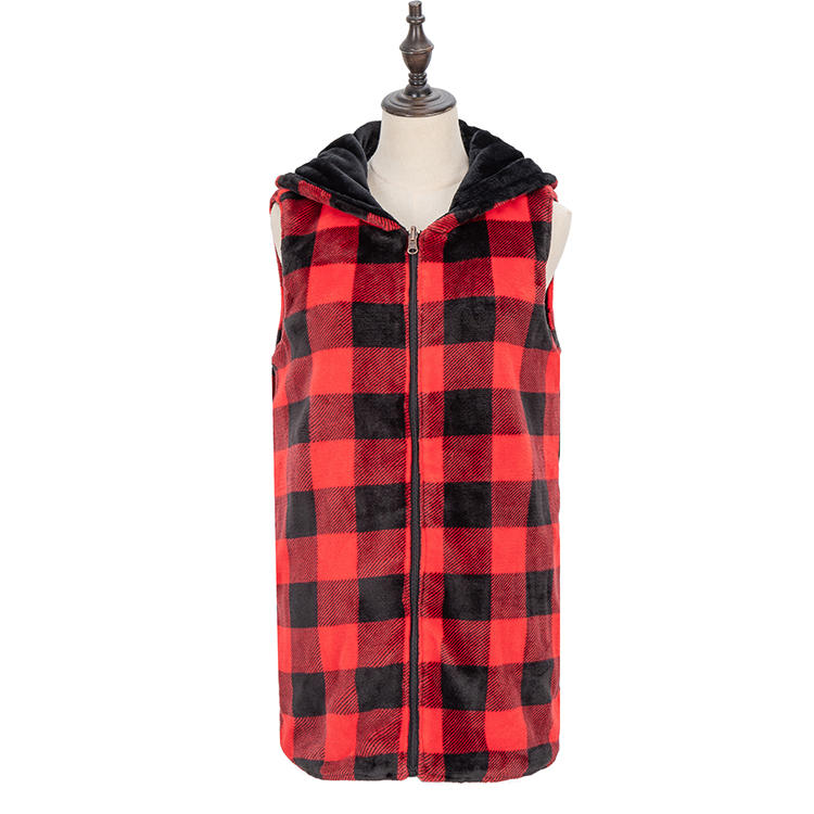 2020 New Arrival Wholesale Women Sleeveless Reversible Plaid Fleece Vest MXDSS726