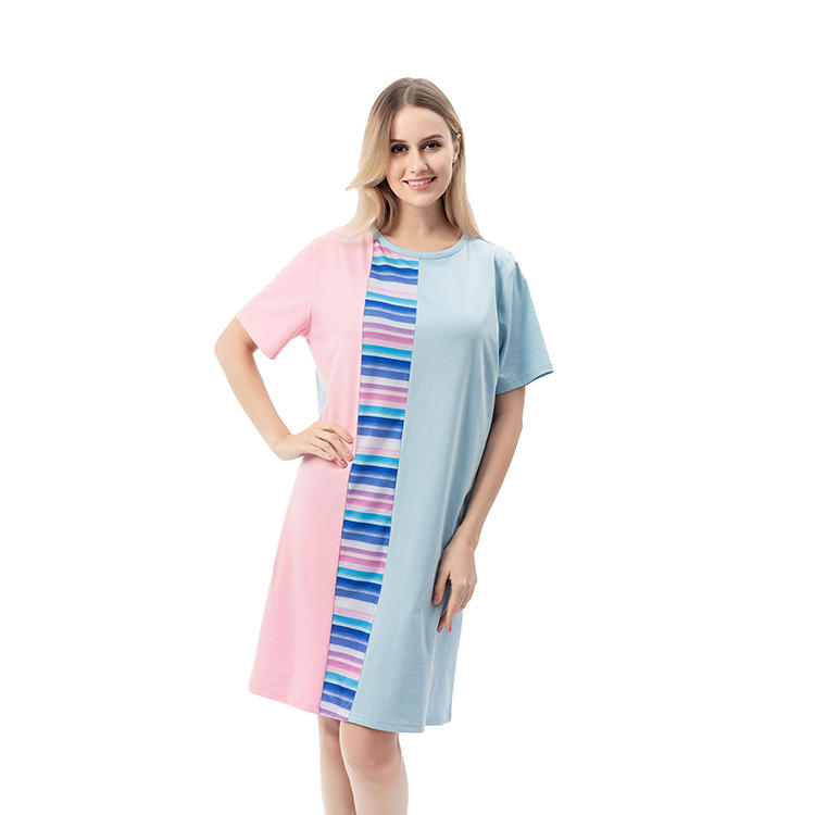 2020 New Arrival Fashion Color-block Round Neck Women Dress MXDSS733