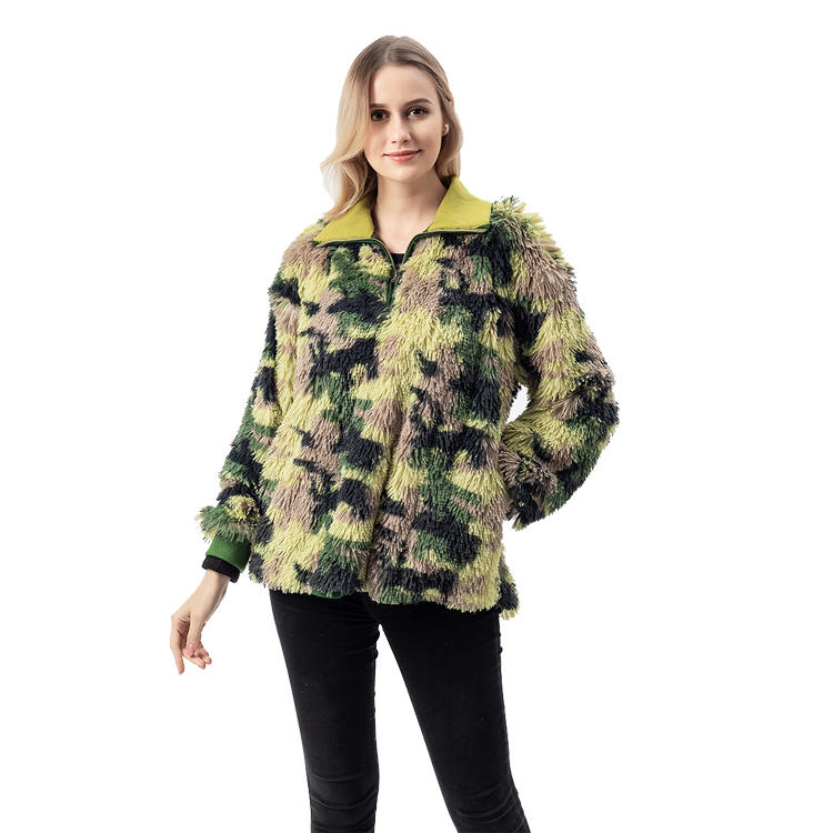 New Arrival Women Camouflage Shaggy Faux Fur Jacket MXDSS751