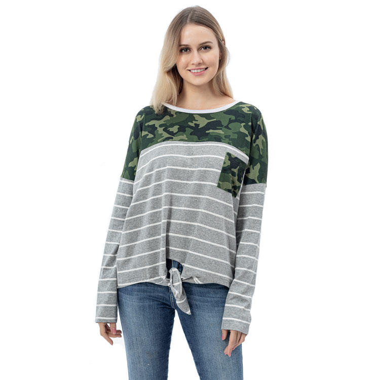 Women Casual Camouflage Long Sleeves Stripe Shirt MXDSS762