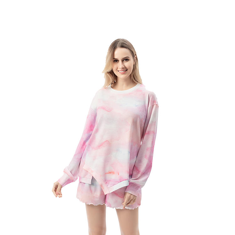 Yiwu Wholesale Tie Dye O-neck Long Sleeves Shirt And Shorts MXDSS735