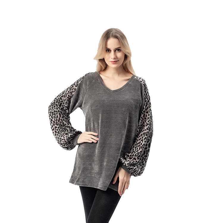 SO CRAZY Women Chenille Leopard Bishop Sleeves V-Neck Sweater MXDSS747