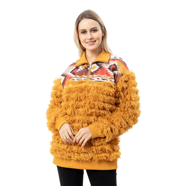 2020 New Arrival Aztec Fashion Shaggy Fleece Quarter Zip Pullover MXDSS795