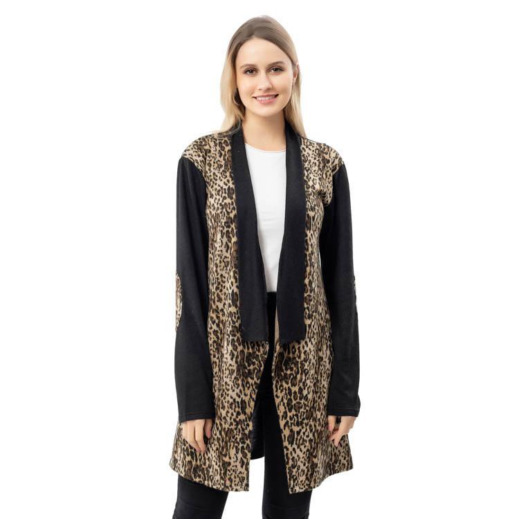 New Arrival Women Black Sleeves Elbow Leopard Cardigan MXDSS786