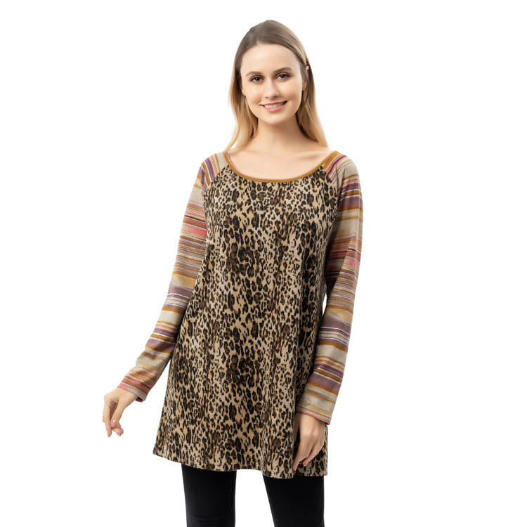 2020 New Design Women Leopard Stripe Sleeves Raglan MXDSS785