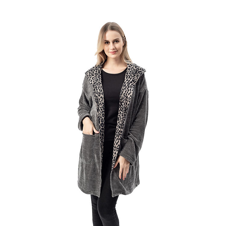 High Quality Women Charcoal Leopard Chenille Hoodie Cardigan MXDSS748