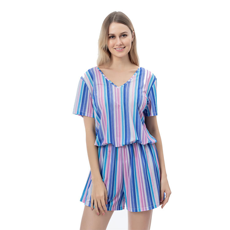 Hot Selling Women V-Neck Colorful Stripe Jumpsuits MXDSS765