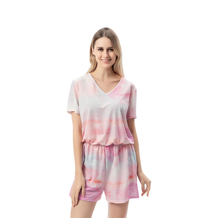 Hot Selling Summer Women Fashion Tie Dye V-Neck Jumpsuit MXDSS736