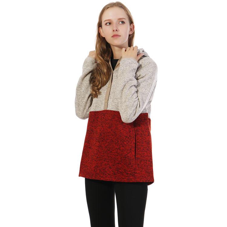 2020 Winter Women Casual Colo-Block Half Button Hoodie Pullover MXDSS358