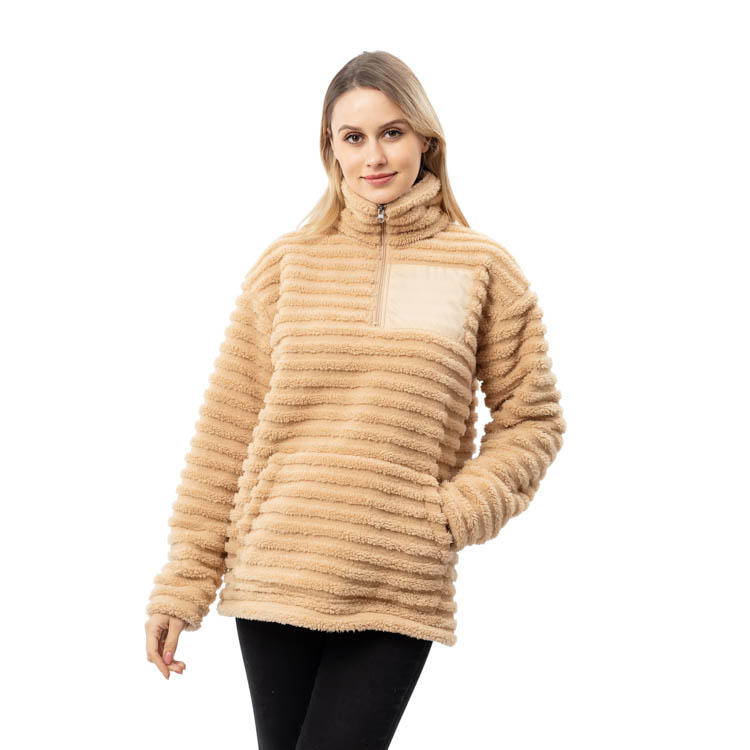 High Quality Quarter Zipper Stripe Patch Monogrammed Sherpa Pullover MXDSS792