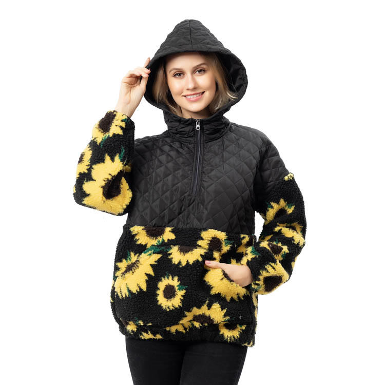 YiWu Wholesale Ladies Quarter Zipper  Sunflower Pullover With Hoodie MXDSS790