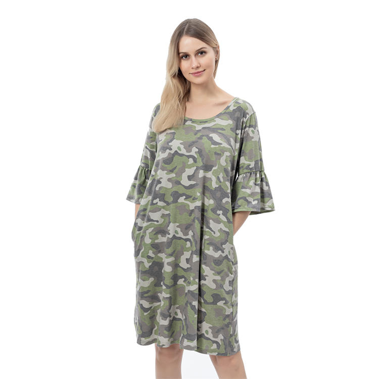 Max Wholesale Crew Neck Camo Print Ruffle Sleeves T Shirt Dress MXDSS763