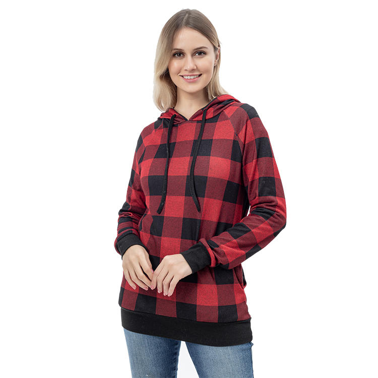 Wholesale Ladies Buffalo Plaid Seam Pocket Pullover With Hoodie MXDSS772