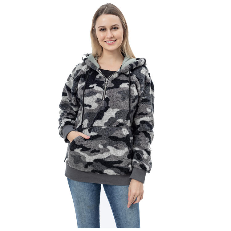 Fashion Women Camouflage pullover Sherpa Fleece Hoodie MXDSS773