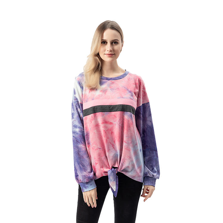 So Crazy Tie Dye Women Casual Tie Front Pullover MXDSS743