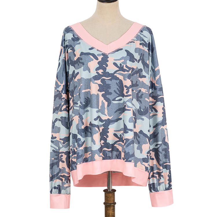 YIWU Wholesale Pink V-Neck Camouflage Pullover MXDSS704