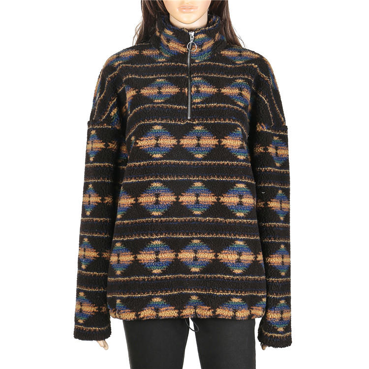 High Quality Aztec Quarter Zipper Lambs Wool Fleece Pullover MXDSS596