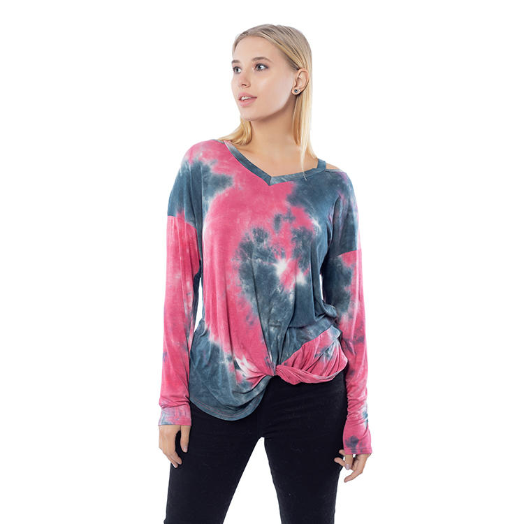 Fashion Women Casual Long Sleeves Tie Dye V Neck Tops MXDSS815
