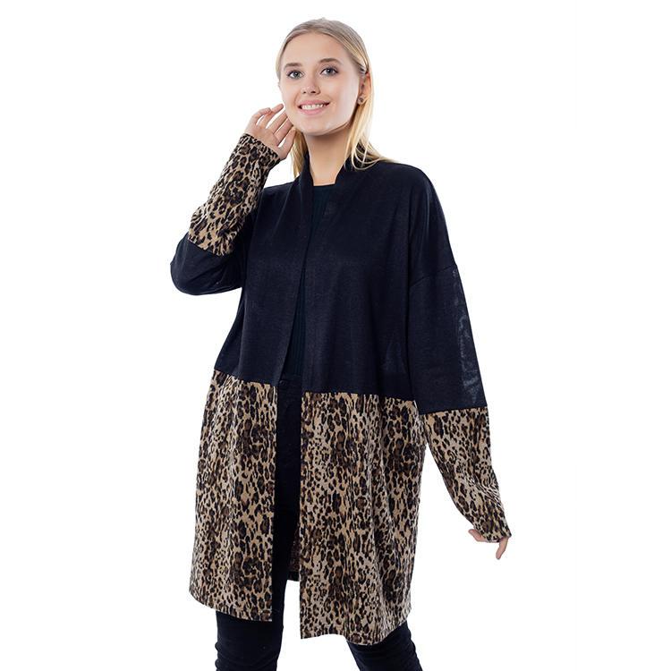Fashion Women Black Leopard Color Block Long Sleeves Cardigan MXDSS817