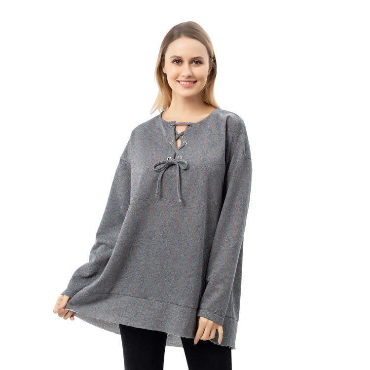 Best Seller Women Charcoal Multicolored Blouse String Neck Long Sleeves Top MXDSS797
