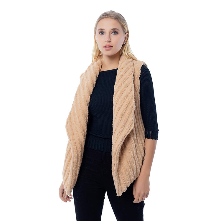 SO FASHION Women And Man Stripe Fleece Vest MXDSS814