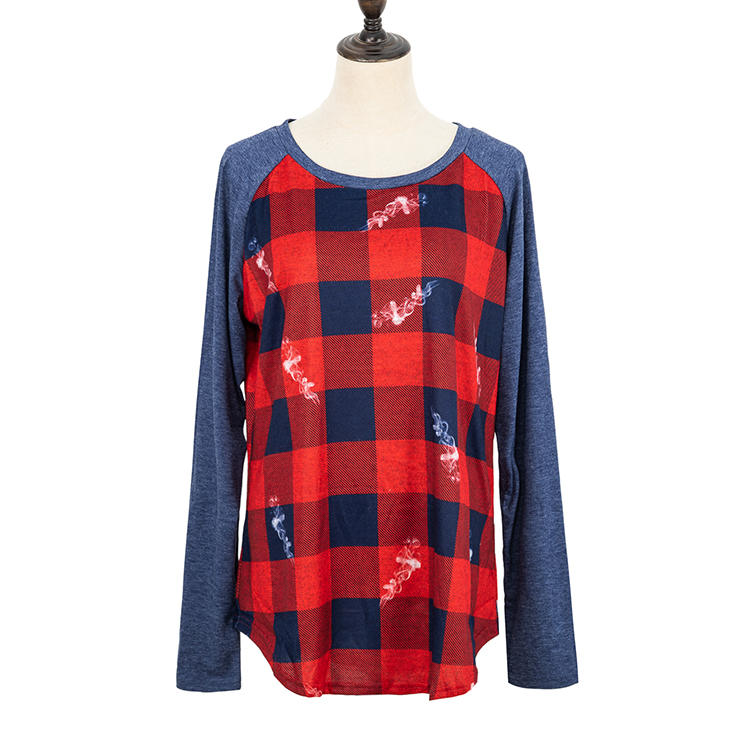 High Quality Casual Buffalo Plaid Navy Long Sleeves Top MXDSS707