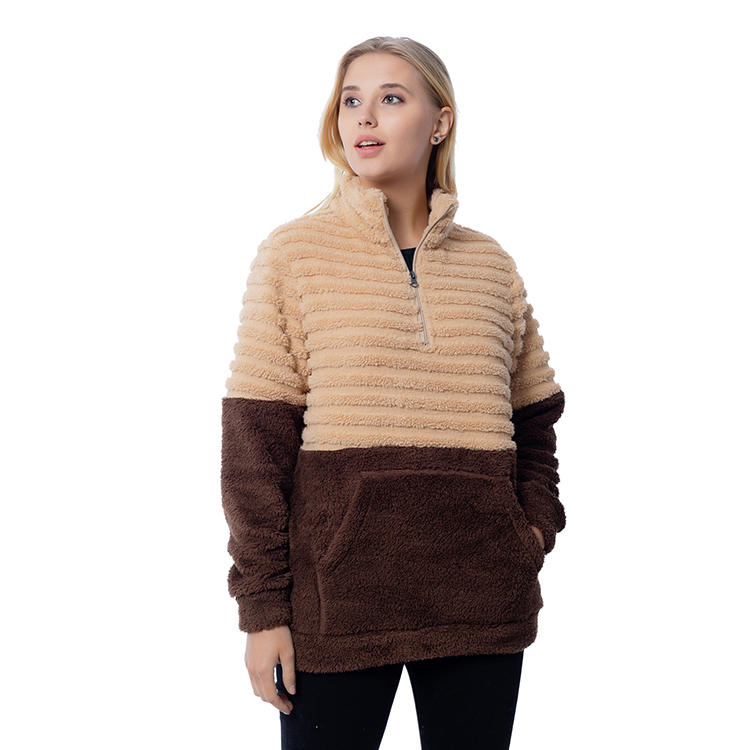 Warmly Quarter Zipper Color Block Sherpa Fleece Pullover MXDSS810