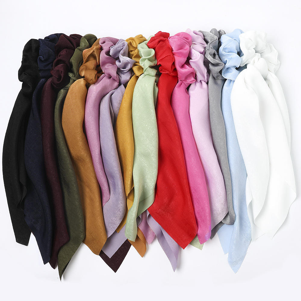 Low MOQ Wholesales Solid Color Hair Scrunchies With Scarf Bangles For Ladies MXDSX001