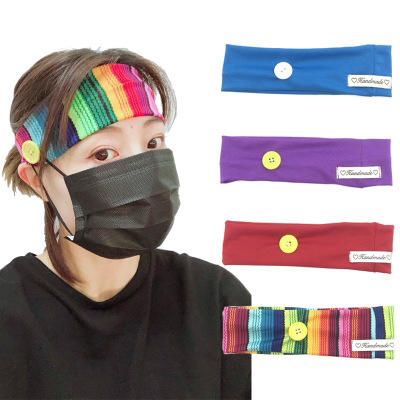 New Arrival Stripe Knitted Sports Headbands With Button Fashion Headband MXDSP002